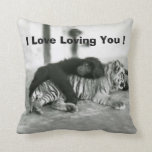 Funny Valentines Day Monkey and Tiger Pillow