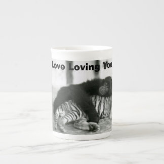 Funny Valentines Day Monkey and Tiger Tea Cup