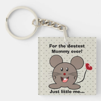 Funny Valentines Day Mouse Double-Sided Square Acrylic Keychain