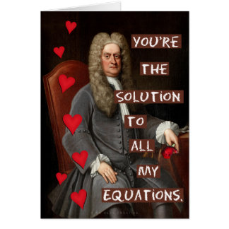 Funny Valentine's Day Newton Geek Math Love Card