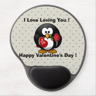 Funny Valentines Day Penguin Gel Mouse Pad