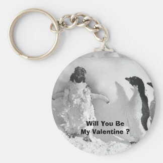 Funny Valentines Day Penguin Keychains