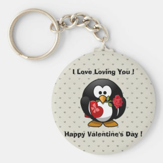 Funny Valentines Day Penguin Keychain