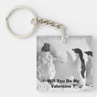 Funny Valentines Day Penguin Square Acrylic Keychains