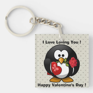 Funny Valentines Day Penguin Double-Sided Square Acrylic Keychain