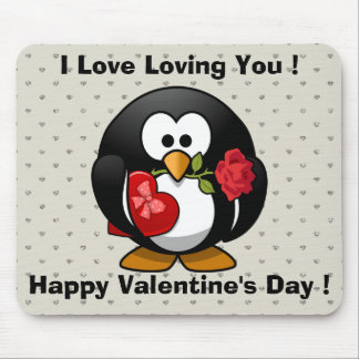 Funny Valentines Day Penguin Mouse Pad