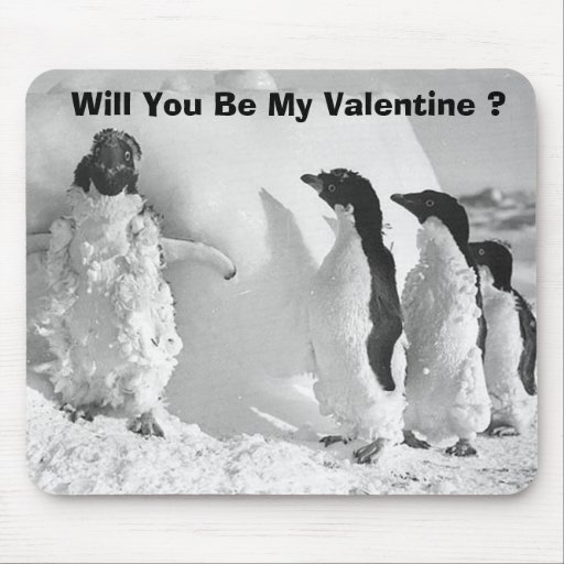 Funny Valentines Day Penguin Mousepads