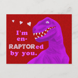 Funny Valentine's Day Raptor Dinosaur Pun Kids Holiday Postcard