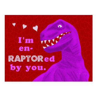 Funny Valentine's Day Raptor Dinosaur Pun Kids Postcard