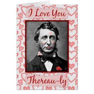 Funny Valentine's Day Thoreau Bookworm Nerd Love Greeting Card