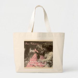 Funny Valentines Day Vintage Boy and Girl Large Tote Bag