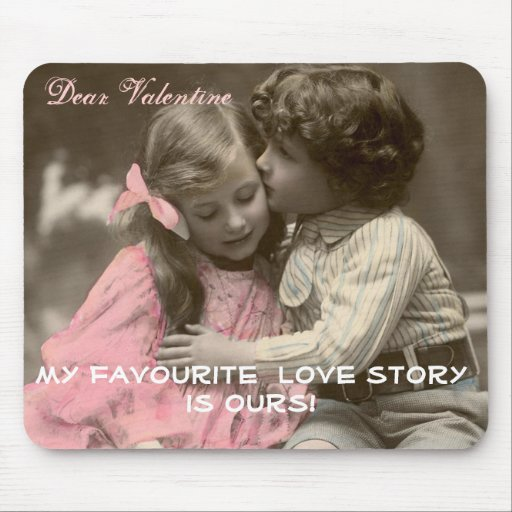 Funny Valentines Day Vintage Boy and Girl Mouse Pad