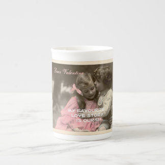 Funny Valentines Day Vintage Boy and Girl Tea Cup