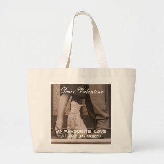 Funny Valentines Day Vintage Couple with Cat Large Tote Bag