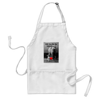 Funny Valentines Day Vintage Girl with Elephant Adult Apron