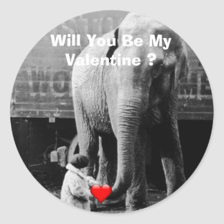 Funny Valentines Day Vintage Girl with Elephant Classic Round Sticker