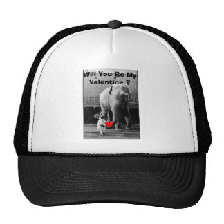 Funny Valentines Day Vintage Girl with Elephant Mesh Hats