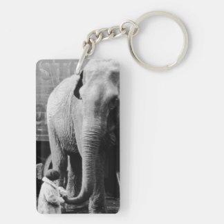 Funny Valentines Day Vintage Girl with Elephant Keychain