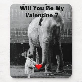 Funny Valentines Day Vintage Girl with Elephant Mouse Pad
