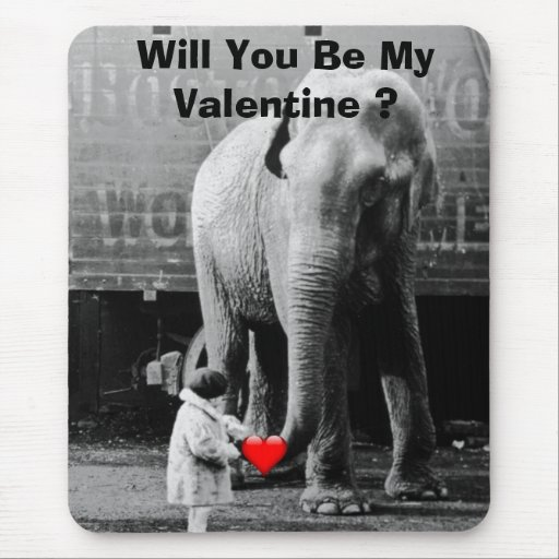 Funny Valentines Day Vintage Girl with Elephant Mouse Pads