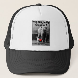 Funny Valentines Day Vintage Girl with Elephant Trucker Hat