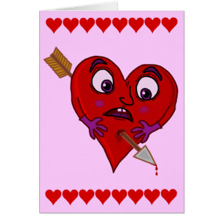Funny Valentine's Heart with Arrow Greeting Cards