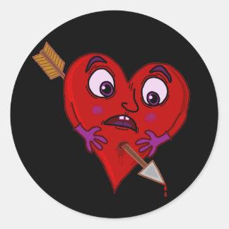 Funny Valentine's Heart with Arrow Classic Round Sticker