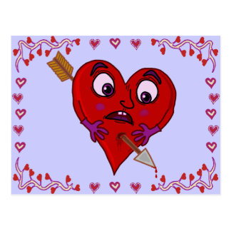 Funny Valentine's Heart with Arrow Postcards