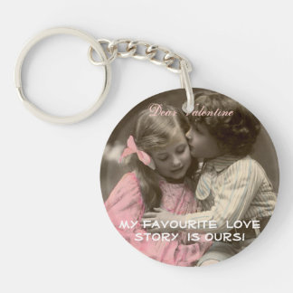Funny Valentines Vintage Boy kissing Girl. Double-Sided Round Acrylic Keychain