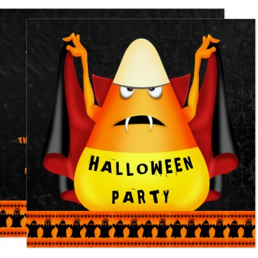 Halloween Themed Funny Vampire Candy Corn Halloween Party Card