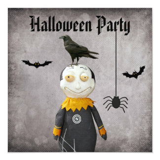 Funny Vampire & Crow Damask Halloween Party Card