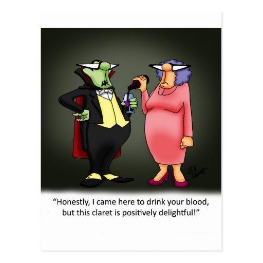 Funny Vampire Wine Gift Postcard