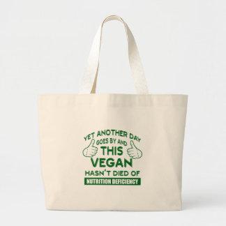 Funny Vegan T-shirt Large Tote Bag