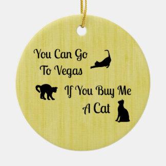Funny Vegas Cat Round Ornament