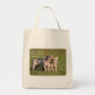 Funny Vegetarian Tote With Cute Piglets