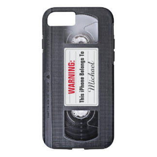 Funny VHS Tape with Custom Name Text iPhone 7 Case