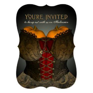 Funny Victorian Corset Halloween Party Invite