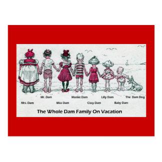 Funny Victorian Family Beach Vacation Postcard
