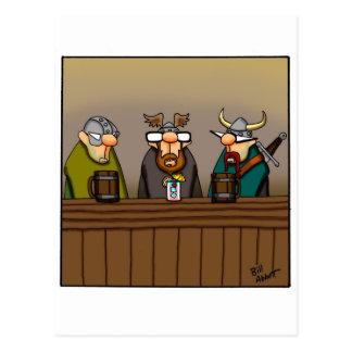 Funny Viking Drinking Cartoon Post Cards