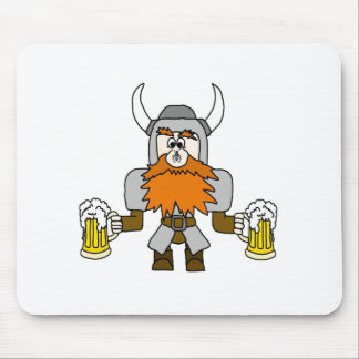 Funny Viking with Beer and Fly On Nose Mouse Pad