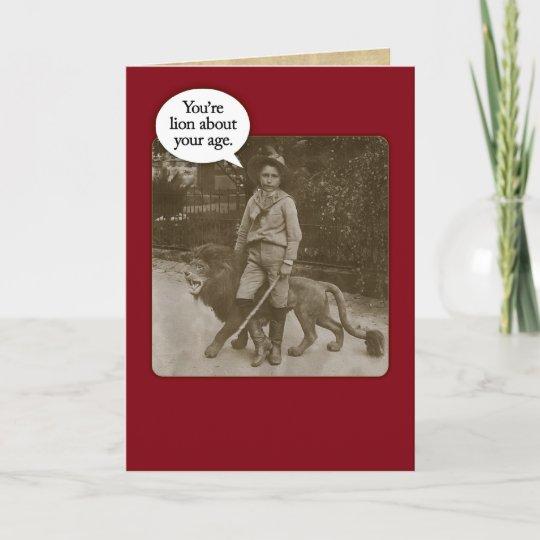 Funny Vintage 1880s Lion Safari Birthday Card Zazzle
