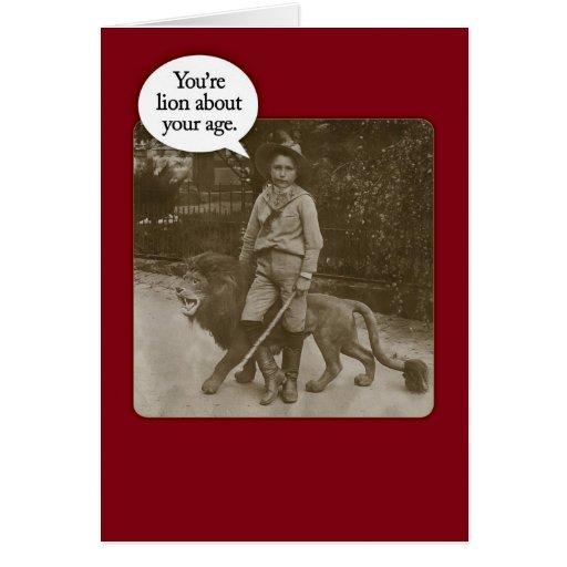 Funny Vintage 1880s Lion Safari Birthday Card