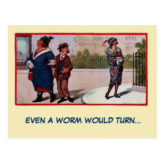 Funny vintage 1920s Even a Worm would turn Postcard