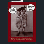 """Funny Vintage 1920s Older Sister Birthday Card<br><div class=""""desc"""">This is my Mom and her younger sister,  circa 1926,  Germany. Nothing like a little healthy sibling rivalry!</div>"""