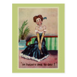 Funny vintage 21st birthday for her postcard