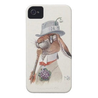 Funny Vintage Anthropomorphic Rabbit iPhone 4 Cover