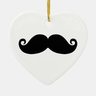Funny Vintage Black Mustache Ceramic Ornament