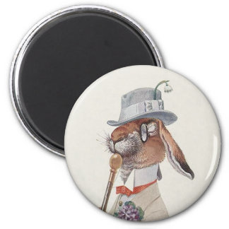 Funny Vintage Bunny Rabbit - Easter Gift 2 Inch Round Magnet