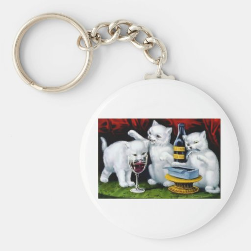 Funny Vintage Cat Party with Wine and Sardines Basic Round Button Keychain