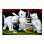 Funny Vintage Cat Party With Wine And Sardines Postcard at Zazzle